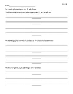 Cursive Practice 13: Jokes &amp- Riddles | Printable Skills Sheets