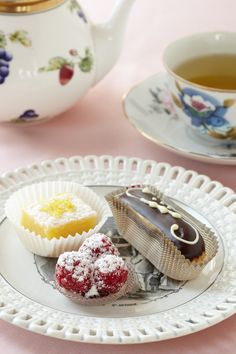 Delicate desserts pair perfectly with English tea and baby shower fun.
