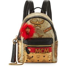 MCM Stark Small Leather Insignia Backpack ($2,210) ❤ liked on Polyvore featuring bags, backpacks, gold, mcm backpack, leather daypack, leather backpack, fox backpack and padded backpack
