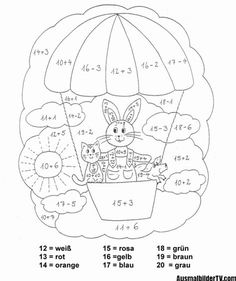 coloring page class 1 - Easter Eggs Day School Worksheets, Worksheets For Kids, Color By Number Printable, Grade 6 Math, Maths Exam, Drawing School, German Language Learning, Colouring Pages, Coloring Pages For Kids