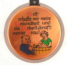 "Vintage German Wall Hanging Kitchen Laundry Mini Frying Pan 10"" Saying Quote"