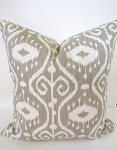 THROW PILLOW Covers Taupe Gray Ikat 16x16 Decorative Throw Pillows Designer 16 x 16 Tan Striped Pillows
