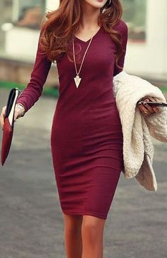 This beautiful burgundy sheath dress is elegantly styled for your special night out.