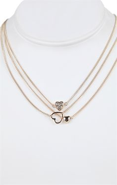 Deb Shops Short 3 Layer Necklace with Small Heart Charms $8.00