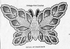 Vintage Crocheted Butterfly Pattern, Chair or Buffet Set in pineapple stitch. Arm rests & Chair Back. Crochet Butterfly Pattern, Peacock Pattern, Crochet Patterns, Crochet Books, Crochet Doilies, Knit Crochet, Vintage Knitting, Vintage Crochet, Pineapple Design