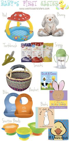 Baby's First Easter | West Coast Sisters #firsteaster #easterbasket #mushroompool So many fun ideas for Liam's first Easter! Obsessed with the Mushroom Pool! So cute!