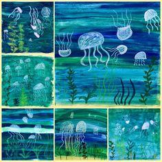Ze maken een uitgebreidere onderwaterwereld. Hierbij gebruiken ze wasco en ecoline, wat bij de leeftijd past. Ook mengen ze de ecoline. Dat zorgt voor wat uitdaging.