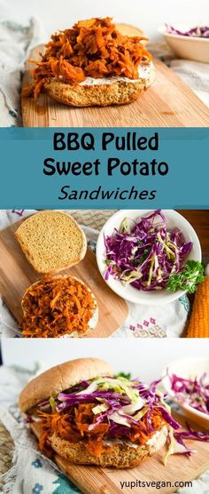 BBQ Pulled Sweet Potato Sandwiches - shredded sweet potato braised in BBQ sauce makes for the perfect sandwich filling. Veggie Recipes, Whole Food Recipes, Cooking Recipes, Healthy Recipes, Vegan Bbq Recipes, Vegan Recipes For Beginners, Vegetarian Sweet Potato Recipes, Cooking Food, Meal Recipes