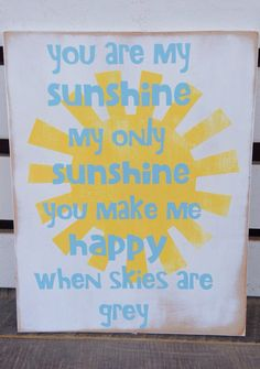 You are my sunshine my only sunshine playroom decor kids room decor song lyrics  on Etsy, $30.00