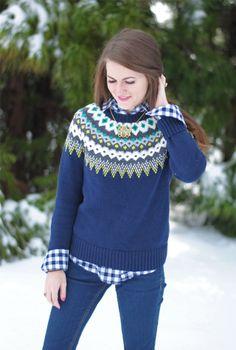navy gingham button down + fair isle sweater