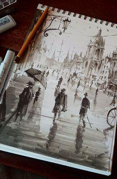 City sketch, Darek Zabrocki on ArtStation at https://www.artstation.com/artwork/city-sketch-5939b6f4-a441-4ec4-a7dd-708df4c3ea88