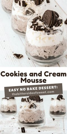 This easy Cookies and Cream Mousse is the perfect no bake dessert! Made with just 3 ingredients, it comes together quickly!   The Bitter Side of Sweet Best Dessert Recipes, Sweets Recipes, Amazing Recipes, Recipes Dinner, Easy Desserts, Fall Recipes, Yummy Recipes, Delicious Desserts, Yummy Food