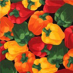 black bell pepper vegetable fabric Timeless Treasures USA