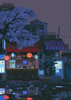 waneella is creating pixel art waneella schafft pixelkunst Aesthetic Gif, Aesthetic Wallpapers, Animes Wallpapers, Cute Wallpapers, Arte 8 Bits, Pixel Art Background, Background Drawing, Japon Illustration, 8bit Art
