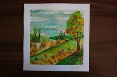 Original Watercolor . Illustration   Yet Summer    U.Wojda