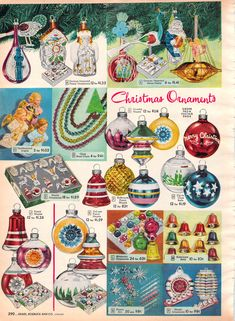 Vintage Christmas Ornament - Shiny Brite - Red Stencil - Happy New Year Christmas Catalogs, Old Christmas, Old Fashioned Christmas, Christmas Books, Christmas Crafts, 1950s Christmas, Christmas Trees, Christmas Mantles, Christmas Villages
