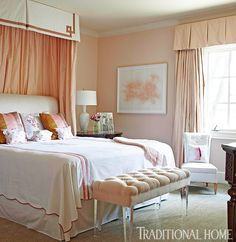 Romantic Rooms and Decorating Ideas | Traditional Home | bedroom | bedding | bench | acrylic | valance | drapery