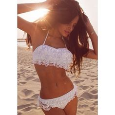 Swimwear: white sweet lace bikini dream supercute sexy where to get white bathers bathers