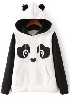 Shop White Hooded Long Sleeve Panda Print Sweatshirt online. Sheinside offers White Hooded Long Sleeve Panda Print Sweatshirt & more to fit your fashionable needs. Free Shipping Worldwide!