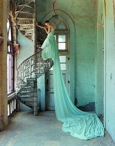 beautiful dress. and stairs. photoshoot