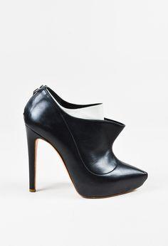Rupert Sanderson Black White Leather Layered Platform Ankle Booties – Luxury Garage Sale
