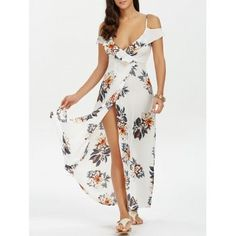 Free shipping 2018 High Split Flounce Floral Long Dress WHITE L under $20.51 in Maxi Dresses online store. Best High Waisted Skirt and Sheath Dress Long for sale at Dresslily.com.