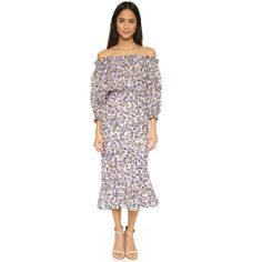 Saloni Grace Off Shoulder Midi Dress ($655) ❤ liked on Polyvore featuring dresses, fauna, white midi dress, longsleeve dress, off shoulder long sleeve dress, white dress and white ruched dress