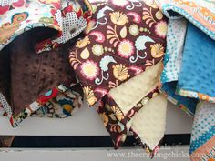 Minky blankets with rolled binding @Terri Pruitt Chicks