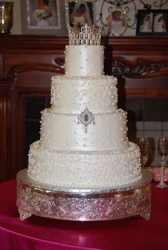 Check out the tiara on this princess wedding cake at Northeast Wedding Chapel by Dallas Pastry House.  www.NortheastWeddingChapel.com