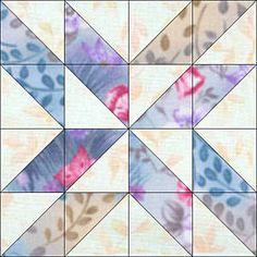 """Mosaic Pinwheels Quilt Block Pattern - 8"""" & 24"""" Blocks"""