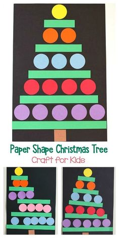 Paper Shape Christmas Tree Craft for Kids with Free Printable- Easy art project for kindergarten and first grade that also works on shapes and spatial awareness skills. art people Christmas Crafts for Kids: Paper Shape Christmas Tree - Buggy and Buddy Preschool Christmas Crafts, Christmas Art Projects, Easy Art Projects, Christmas Crafts For Kids, Christmas Activities, Holiday Crafts, Time Activities, Christmas Tree Printable, Christmas Tree Art