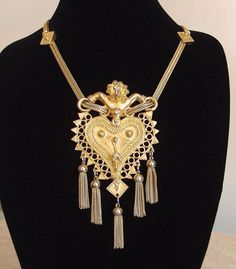 Vintage Judith Leiber Pendant Necklace in Gold Tone by hotvintage