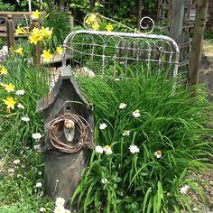 Old wrought iron garden gate, bird house with old door knob.