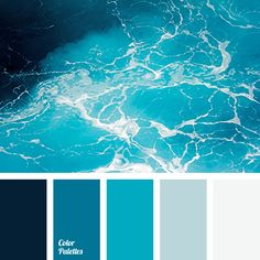 I ❤ cool colors . . . Color palette No 1873~ Bright cold color palette of shades of sea wave. The combination of colors from the midnight blue to subtle pale azure. The classic color solution for the finishing of pool, bathroom & interior in marine style. It gives coolness, cleanness & freshness, allowing you to feel the sea breeze in the room.