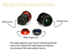 olloclip set of lens caps (1 x fisheye & 1 x wide-angle) and 1 x black microfiber bag/lens cleaner.     100% compatible with both the iPhone 4 and 4S