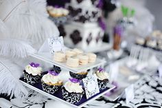 Damask Purple Dessert Table by The Couture Cakery, via Flickr