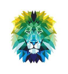 64132137821 Animal Cross Stitch Pattern Geometric Lion Wild animal Cat