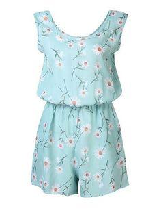 Women Fresh Round Neck Sleeveless Daisy Print Chiffon Jumpsuit Online - NewChic