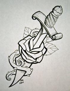Dagger And Rose Tattoo Design - Rose Tattoo Designs