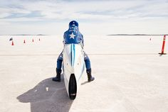 Heading for the horizon: Brett Destoop is the first man in Australia to go faster than 230 mph (370 kph) on a sit-down motorcycle. At the Lake Gairdner Speedweek meet, he rode his home-made 'water bottle' into the record books at exactly 232.108 mph.