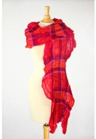 Red crushed wool scarf at Styledarzi.com