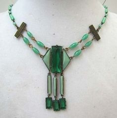"""Vtg Art Deco Green Glass & Brass Necklace  -  Delicate 17"""" 3 Stone Green Faceted Opaque Translucent Glass Bead Necklace w/ Brass Findings & 2 1/2"""" Pendants"""