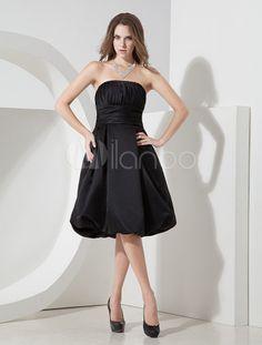 Vestido de cóctel de satén con escote palabra de honor y pliegues - Milanoo.com.  52€ 25 colores