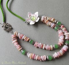 Fresh necklace flower jewelry pink and green jewelry opal