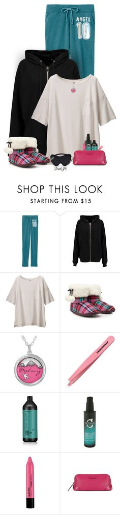 """New Year's Day in Slippers"" by truthjc ❤ liked on Polyvore featuring BLK DNM, Uniqlo, Tweezerman, Matrix Biolage, Catwalk by TiGI, NYX and Gucci"