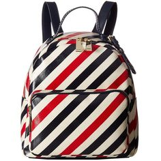 Tommy Hilfiger Julia Stripe Backpack (Tommy Navy) Backpack Bags ($118) ❤ liked on Polyvore featuring bags, backpacks, navy leather backpack, white backpack, navy striped backpack, leather zipper backpack and striped backpack