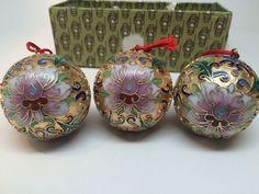 Vtg Cloisonne ball ornaments set/3 5406  Lillian Vernon hand decorated flowers  | eBay