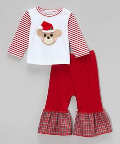 Another great find on #zulily! White Santa Bear Pima Tee & Red Pants - Infant, Toddler & Girls by Holiday by Victoria Kids #zulilyfinds