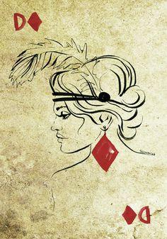 #casino #lasvegas #twenties #gamecards #queen #woman #sketch #drawing #illustration #graphicdesign
