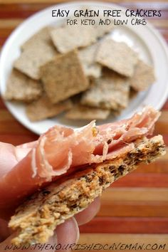 Easy Grain Free Crackers By The Nourished Caveman with Prosciutto